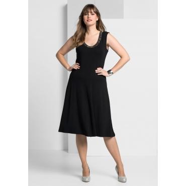 Jerseykleid mit besetztem Rundhalsausschnitt, schwarz, Gr.40-58