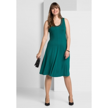 Jerseykleid mit besetztem Rundhalsausschnitt, smaragd, Gr.40-58