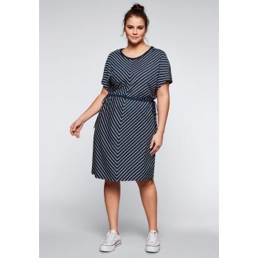 Jerseykleid mit Cut-Outs im Streifendesign, marine-offwhite, Gr.44-58
