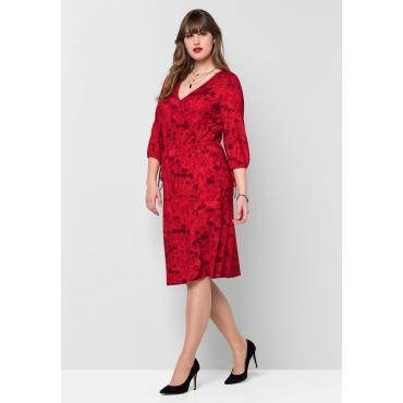 Jerseykleid mit floralem Alloverdruck, mohnrot bedruckt, Gr.40-58