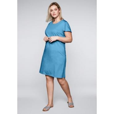 Jerseykleid mit Flügelärmeln und Rundhalsausschnitt, himmelblau, Gr.44-58