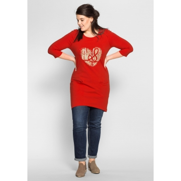 Jerseykleid mit Frontdruck, erdbeerrot, Gr.40-58