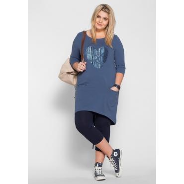 Jerseykleid mit Frontdruck, rauchblau, Gr.40-58