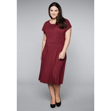 Jerseykleid mit gelegten Falten, rubinrot, Gr.44-58