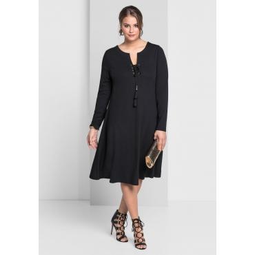 Jerseykleid mit langem Arm, schwarz, Gr.40-58