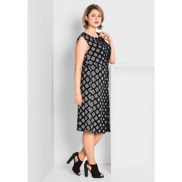 Jerseykleid mit raffiniertem Druck, schwarz bedruckt, Gr.40-58