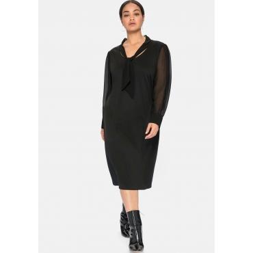 Jerseykleid mit Schluppe und Chiffonärmeln, schwarz, Gr.40-58