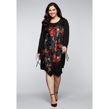 Jerseykleid mit Spitze und Blumenmuster, schwarz gemustert, Gr.44-58
