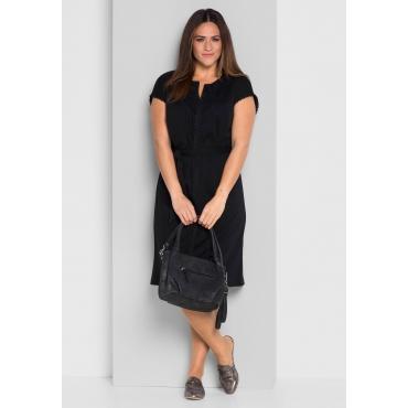Jerseykleid mit Spitzenborten, schwarz, Gr.44-58