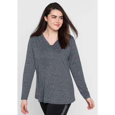 Jerseyshirt aus Funktionsmaterial, grau meliert, Gr.44/46-56/58