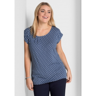 Jerseyshirt mit Alloverdruck, rauchblau-weiß, Gr.40/42-56/58