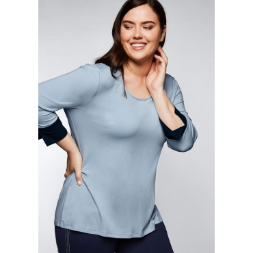 Jerseyshirt mit kontrastfarbener Blende am Ärmel, puderblau, Gr.44/46-56/58
