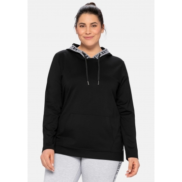 Kapuzensweatshirt mit Print, aus Funktionsmaterial, schwarz, Gr.40/42-56/58