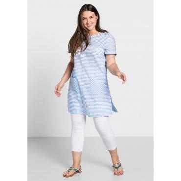 Karokleid mit aufgesetzten Taschen, weiß-pastellblau, Gr.44-58