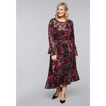 Kleid aus Samt mit Blumenmuster und Volants, rubinrot, Gr.44-58