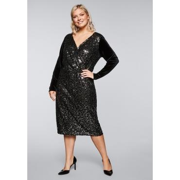 Kleid aus Samt mit Spitze und Pailletten, schwarz, Gr.44-58