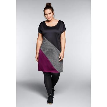 Kleid dreifarbig aus Funktionsmaterial mit Taschen, schwarz-brombeer, Gr.44-58