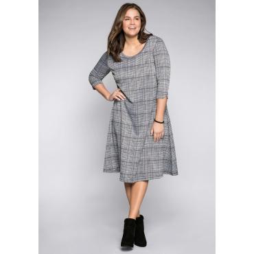 Kleid im Glencheck-Muster, schwarz-weiß, Gr.44-58