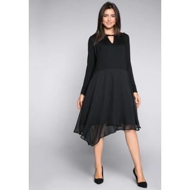 Kleid im Materialmix mit Cutout, schwarz, Gr.44-58