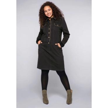 Kleid im Utility-Look mit Blumenstickereien, schwarz, Gr.44-58