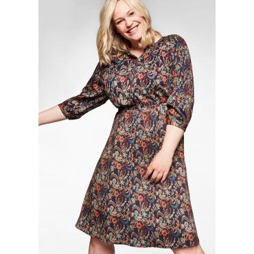 Kleid in A-Linie, mit 3/4-Arm und Blumendruck, nachtblau bedruckt, Gr.40-58