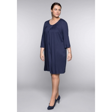 Kleid in A-Linie mit Cut-outs und Rundhalsausschnitt, marine, Gr.44-58
