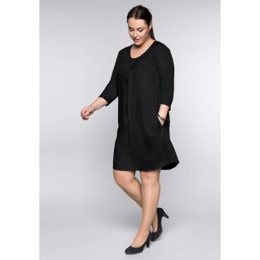 Kleid in A-Linie mit Cut-outs und Rundhalsausschnitt, schwarz, Gr.44-58