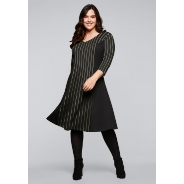 Kleid mit Glanzstreifen und 3/4-Ärmeln, schwarz, Gr.44-58
