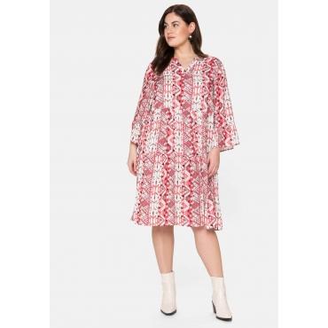 Kleid in A-Linie, mit Multicolor-Print im Ethno-Stil, offwhite bedruckt, Gr.40-58