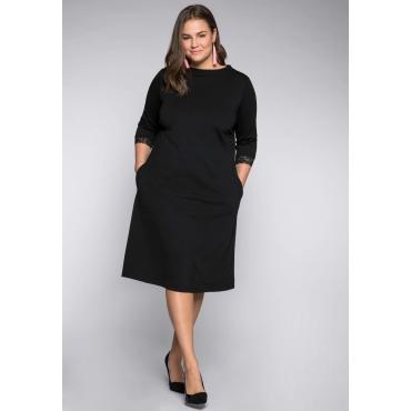 Kleid in kniebedeckender Länge mit Spitze, schwarz, Gr.44-58