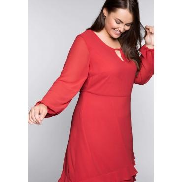 Kleid in knieumspielender Länge mit Volant, melone, Gr.44-58