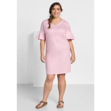 Kleid in leichter Oversize-Form mit Volantärmeln, cremerosé, Gr.44-58