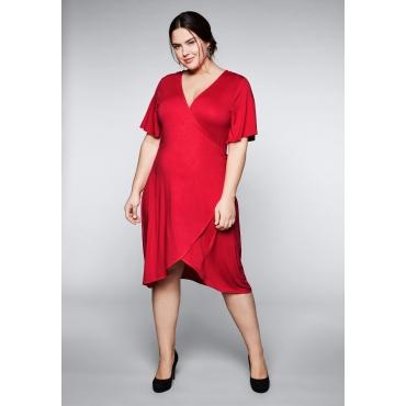 Kleid in raffinierter Wickeloptik, mohnrot, Gr.44-58
