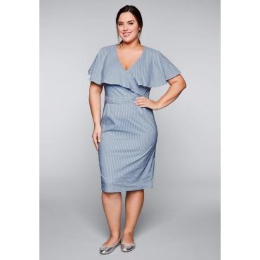 Kleid in Streifenoptik mit Volantkragen, hellblau-weiß, Gr.44-58