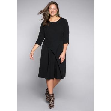 Kleid in Wickeloptik mit Kellerfalten und Einsatz aus Mesh, schwarz, Gr.44-58