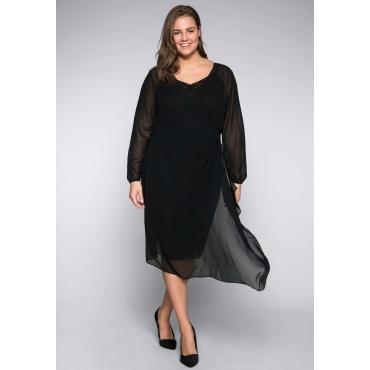 Kleid in Wickeloptik, schwarz, Gr.44-58