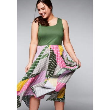 Kleid in Zipfelform mit Mustermix, khaki, Gr.44-58
