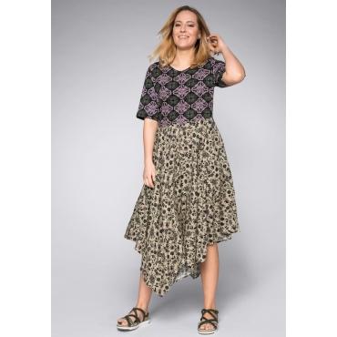 Kleid in Zipfelform mit Mustermix, taupe, Gr.44-58