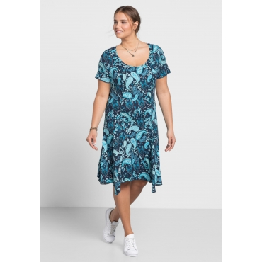 Kleid in Zipfelform mit Paisley-Alloverdruck, blau bedruckt, Gr.40-58