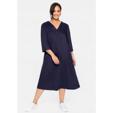 Kleid mit 3/4-Arm, V-Ausschnitt und Eingrifftaschen, nachtlila, Gr.40-58