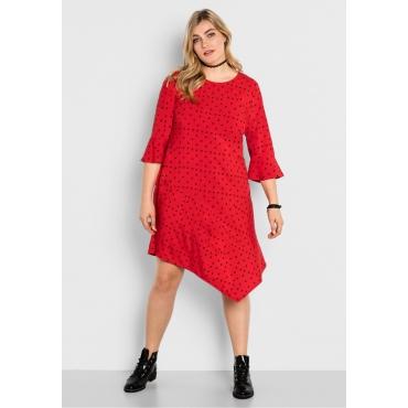 Kleid mit 3/4-Volantärmeln und Alloverdruck, mohnrot bedruckt, Gr.40-58