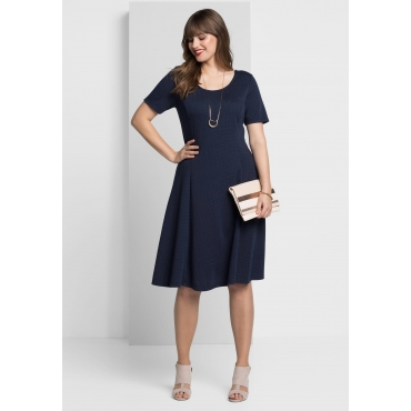 Kleid mit Allover-Minimalpünktchen, marine, Gr.40-58
