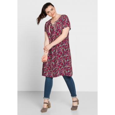 Kleid mit Allover-Paisleydruck., dunkelpink bedruckt, Gr.44-58