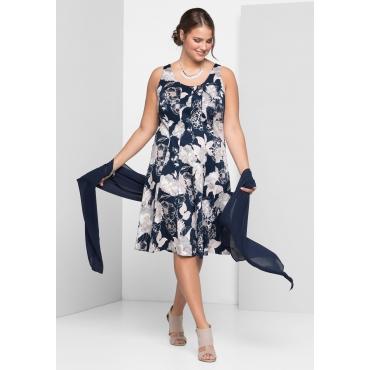 Kleid mit Alloverdruck, marine-weiß, Gr.40-58