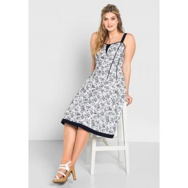 Kleid mit Alloverdruck, weiß bedruckt, Gr.40-58
