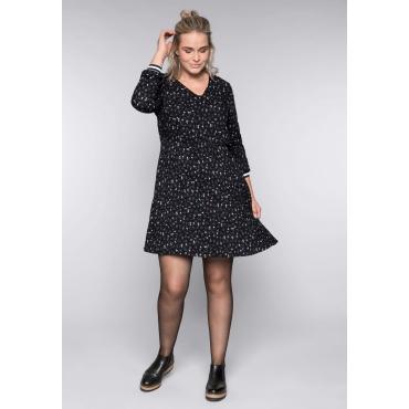 Kleid mit Blumendruck, schwarz bedruckt, Gr.44-58