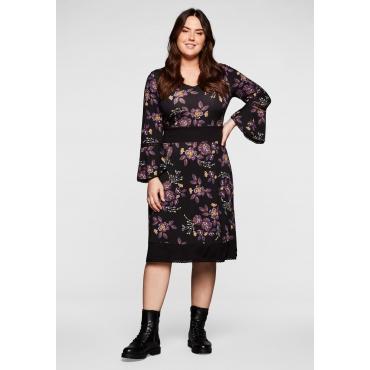 Kleid mit Blumendruck und Häkelspitze, schwarz bedruckt, Gr.40-58