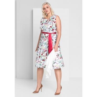 Kleid mit Blumendruck, weiß bedruckt, Gr.44-58