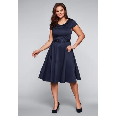 Kleid mit Bubikragen und Stoffgürtel, dunkelblau, Gr.44-58
