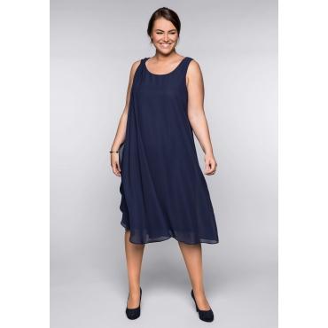 Kleid mit Chiffon, marine, Gr.44-58